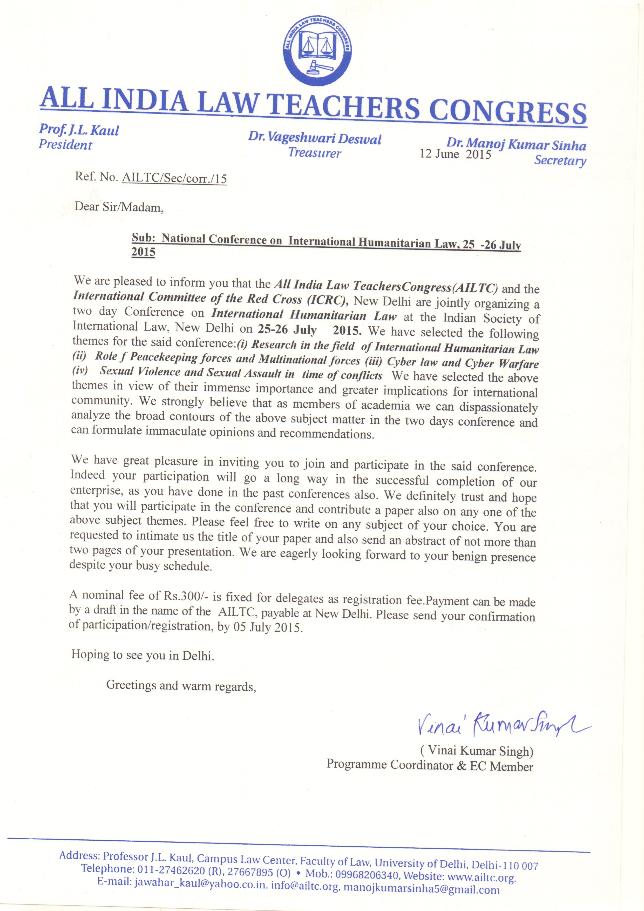 Ailtc all india law teachers congress law teachers association of invitation letter altavistaventures Images